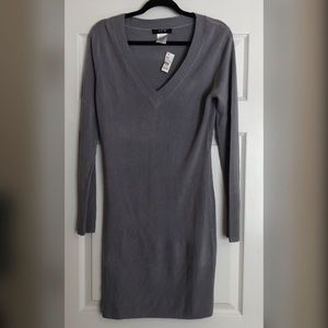 JFW by Just for Wraps Gray V-neck Sweater Dress